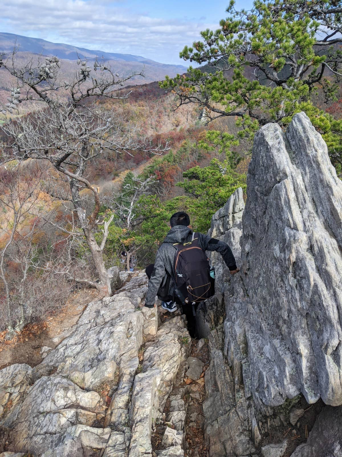climbing down from the peak of Seneca Rocks with the jagged rock and view of the valley