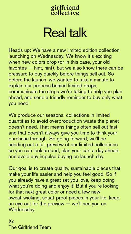 Girlfriend collective's statement about limited drops