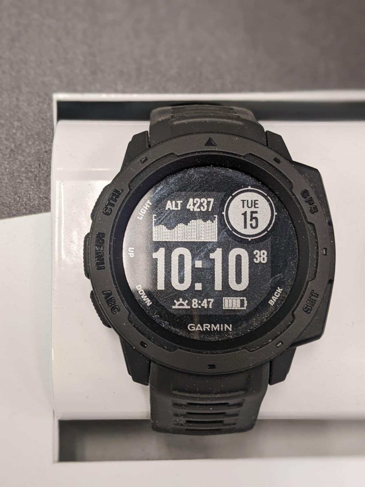 watch face of the standard Garmin Instinct in black