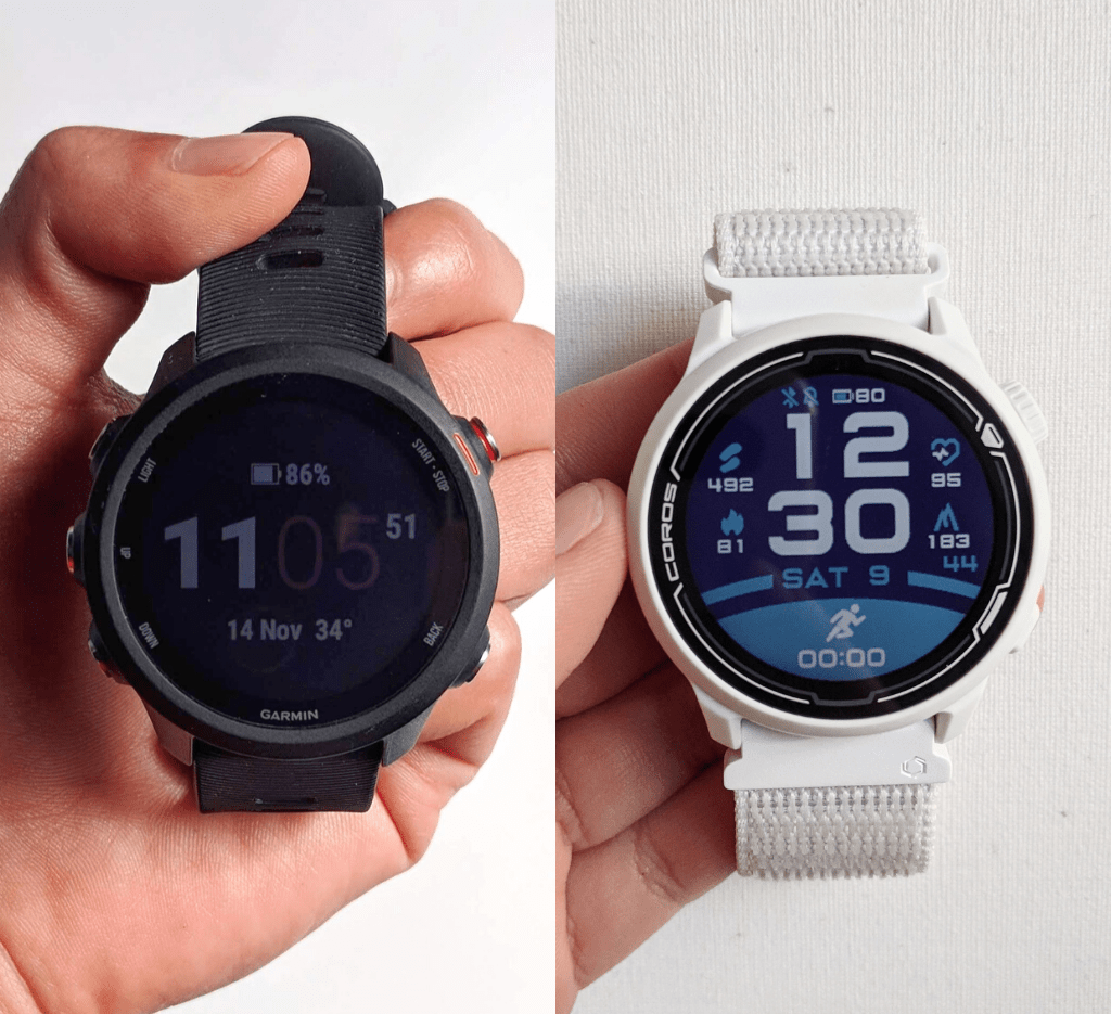Garmin Forerunner 245 on in black on the left and COROS PACE 2 in white on the right